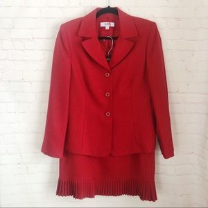 [Le Suit] cherry red pleated skirt suit size 12
